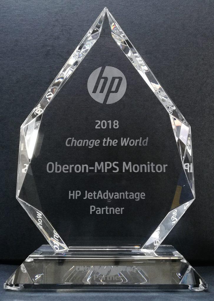 Oberon e MPS Monitor vincono il premio HP JetAdvantage Change the World 2018